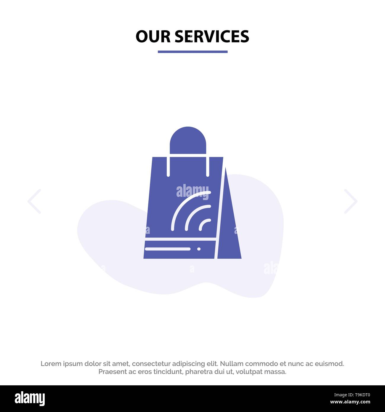 Our Services Bag, Handbag, Wifi, Shopping Solid Glyph Icon Web card Template - Stock Image