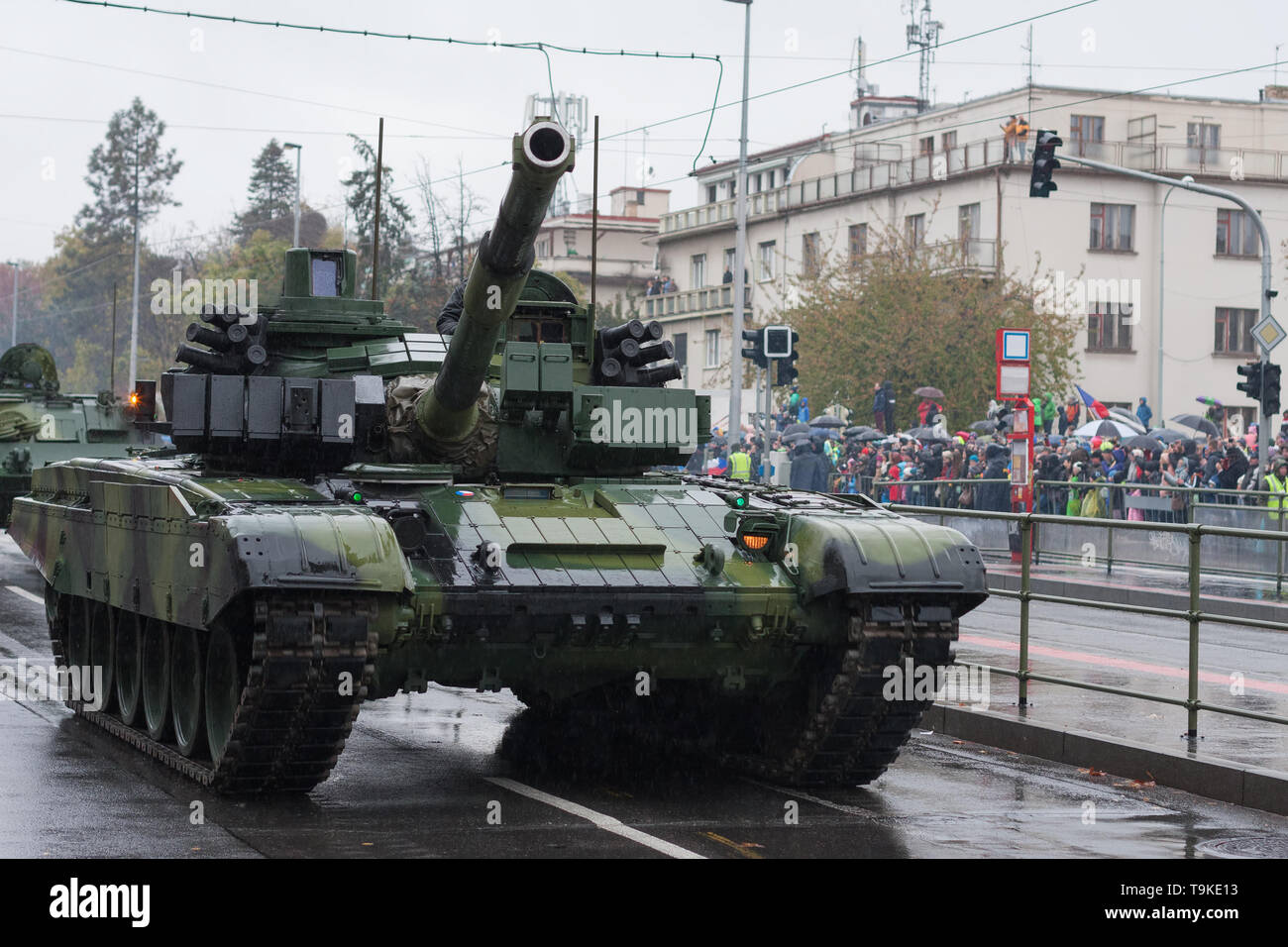 Main battle tank  on military parade  in Prague, Czech Republic - Stock Image