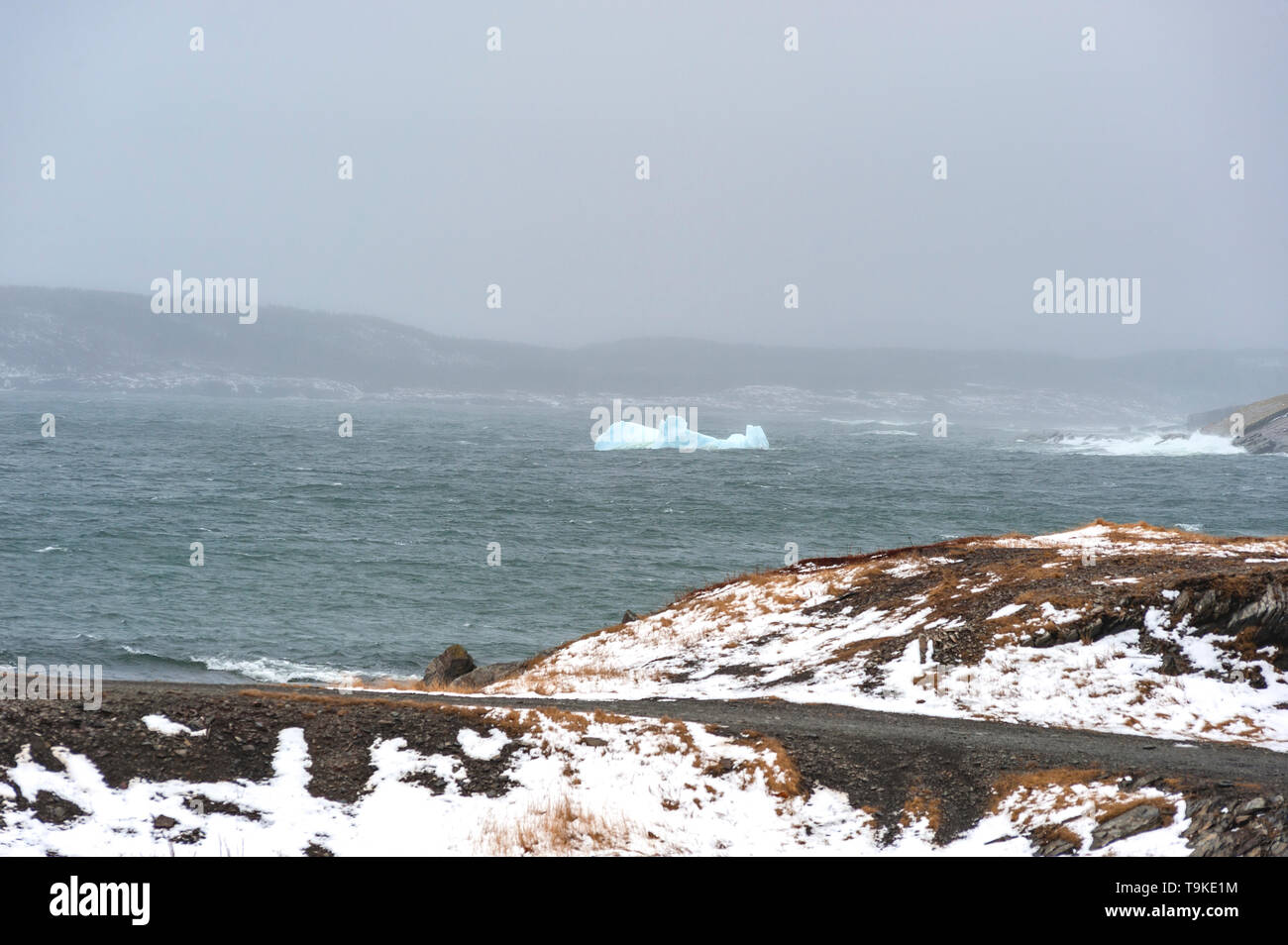 ice berg and rocky shoreline - Stock Image