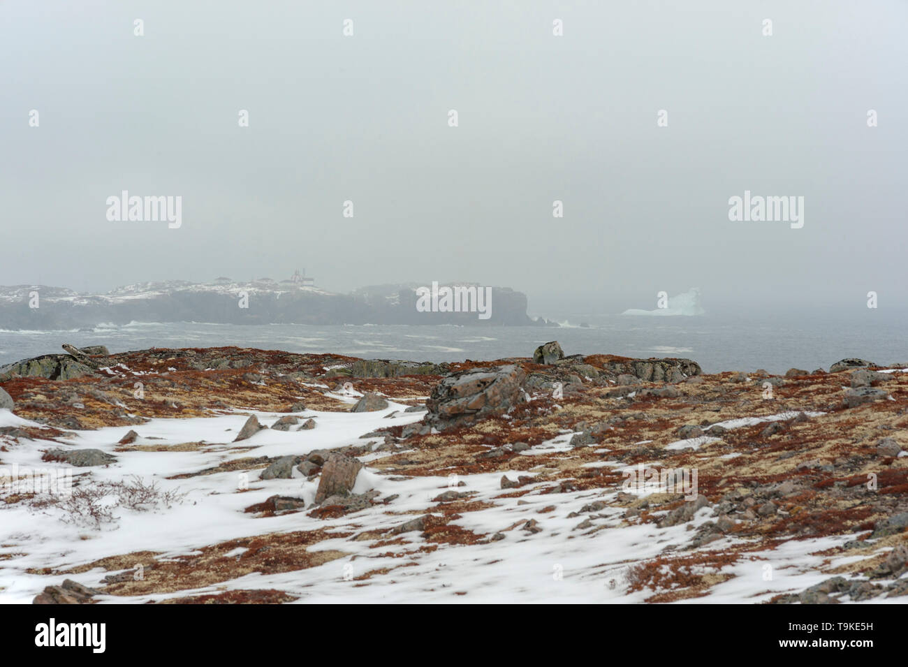 Ice berg and lighthouse in fog - Stock Image