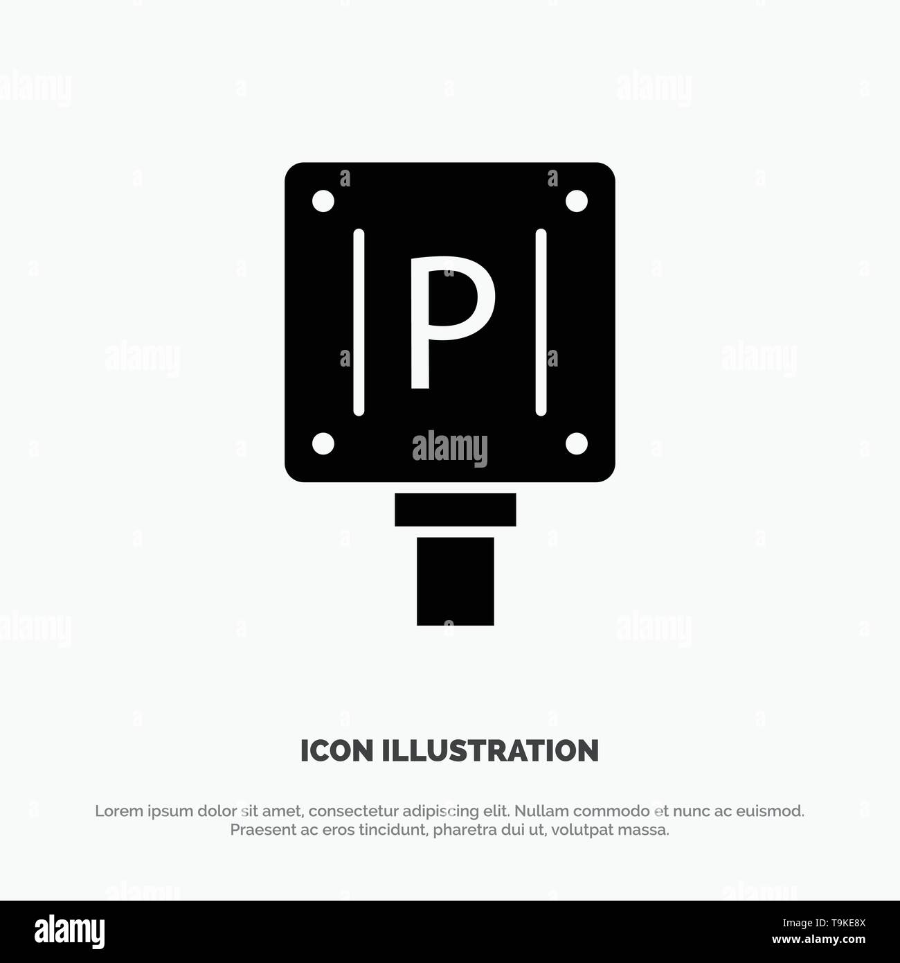 Parking, Board, Sign, Hotel Solid Black Glyph Icon - Stock Image