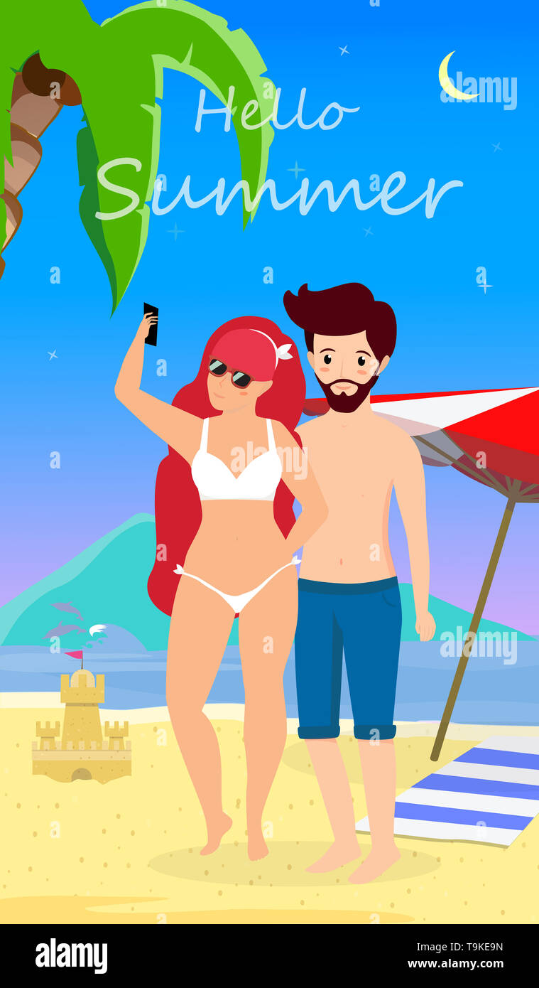 Summer Vacation Couple Selfie on Beach, Night Time, Honeymoon. Man and Woman in Swimsuit Drinking Cocktail on Summer Sandy Sea Beach Background, Love  - Stock Image