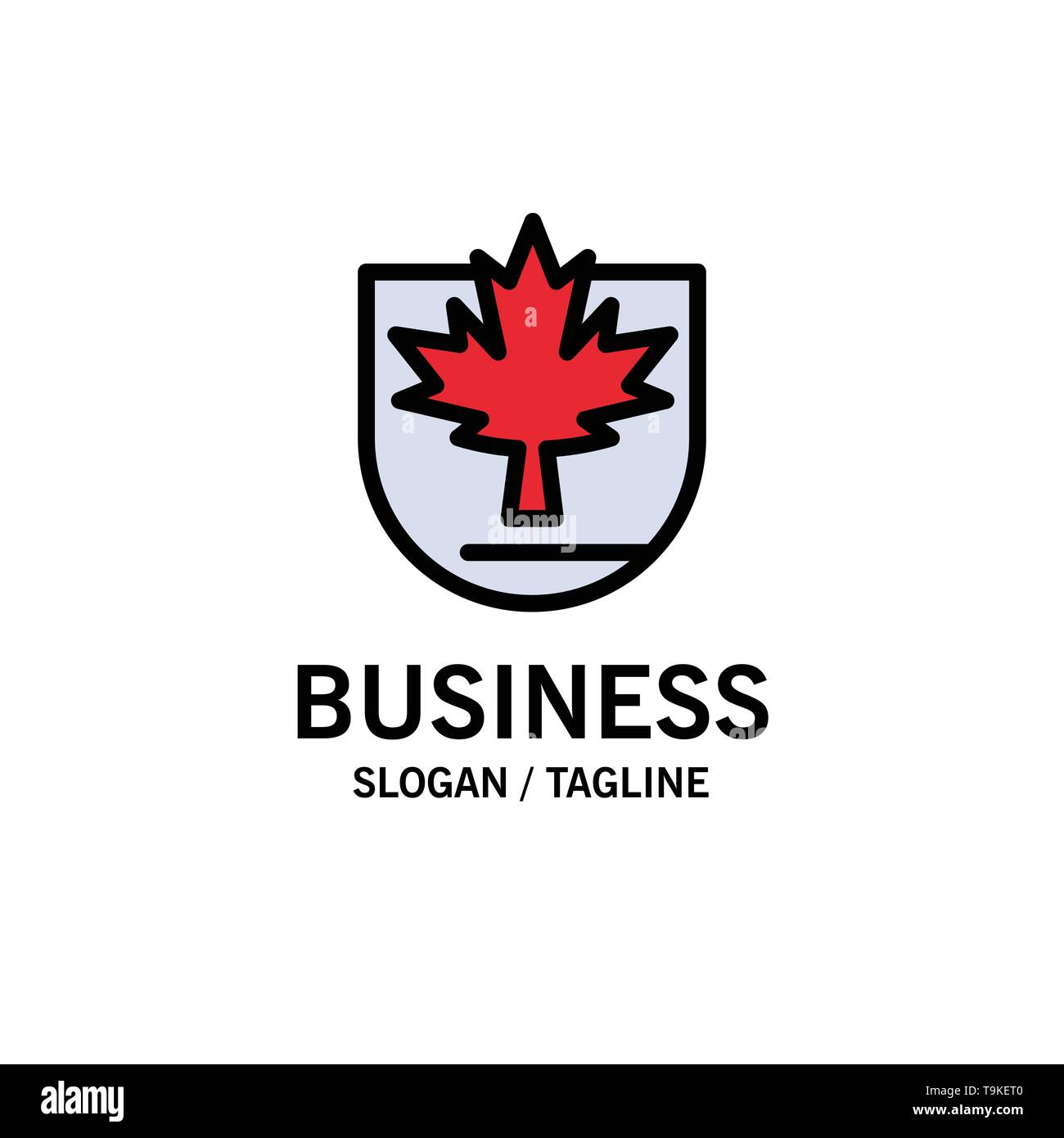 Security, Leaf, Canada, Shield Business Logo Template. Flat Color - Stock Image