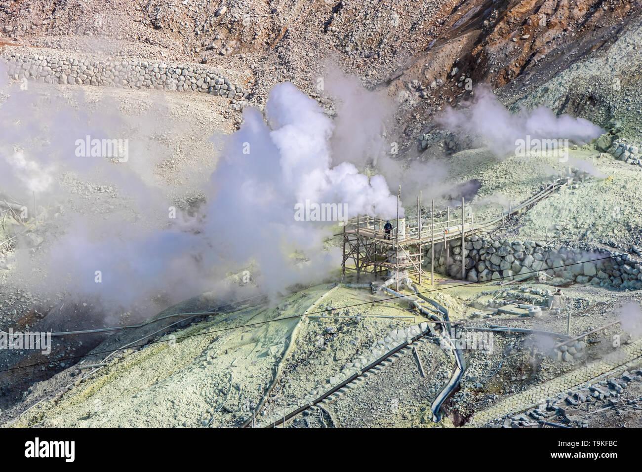 Active sulphur vents of Owakudani at Hakone, Japan - Stock Image