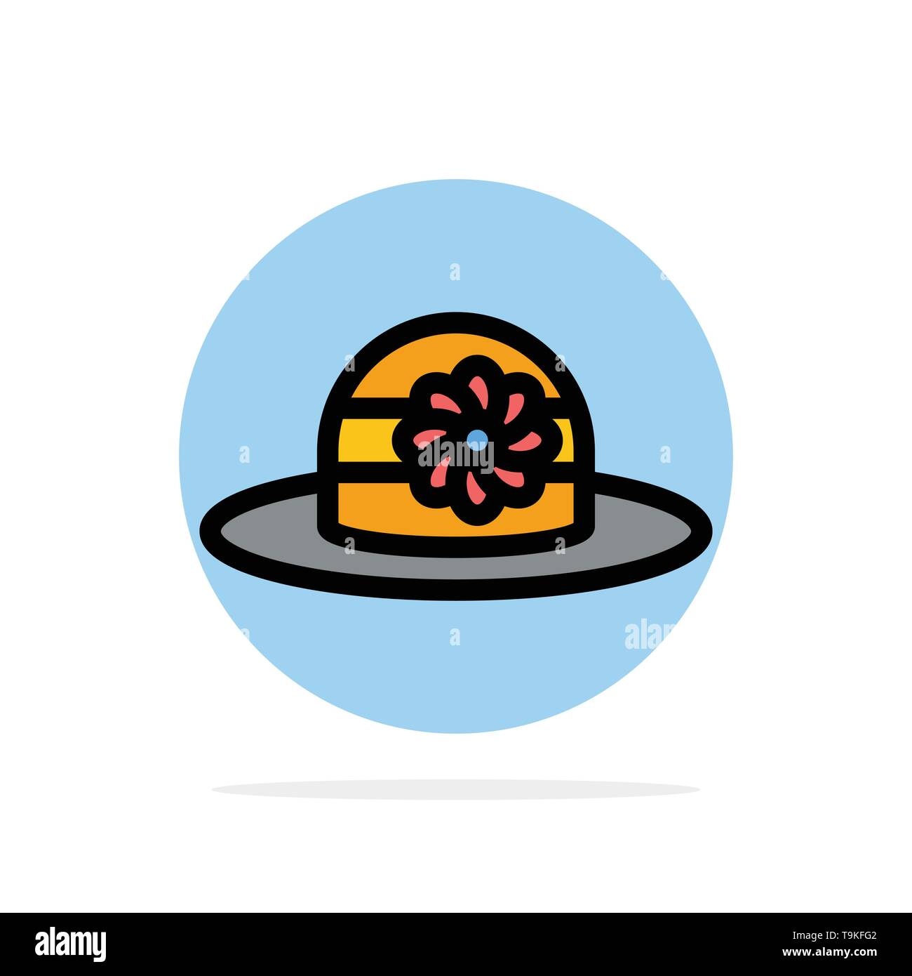 Beach, Hat, Cap Abstract Circle Background Flat color Icon - Stock Image