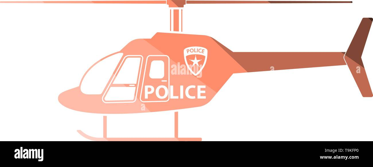 Police Helicopter Icon. Flat Color Ladder Design. Vector Illustration. - Stock Image