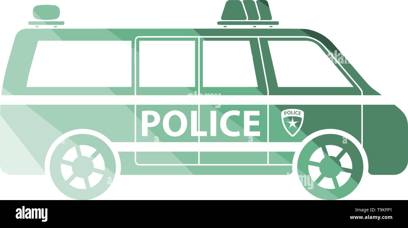Police Van Icon. Flat Color Ladder Design. Vector Illustration. - Stock Image
