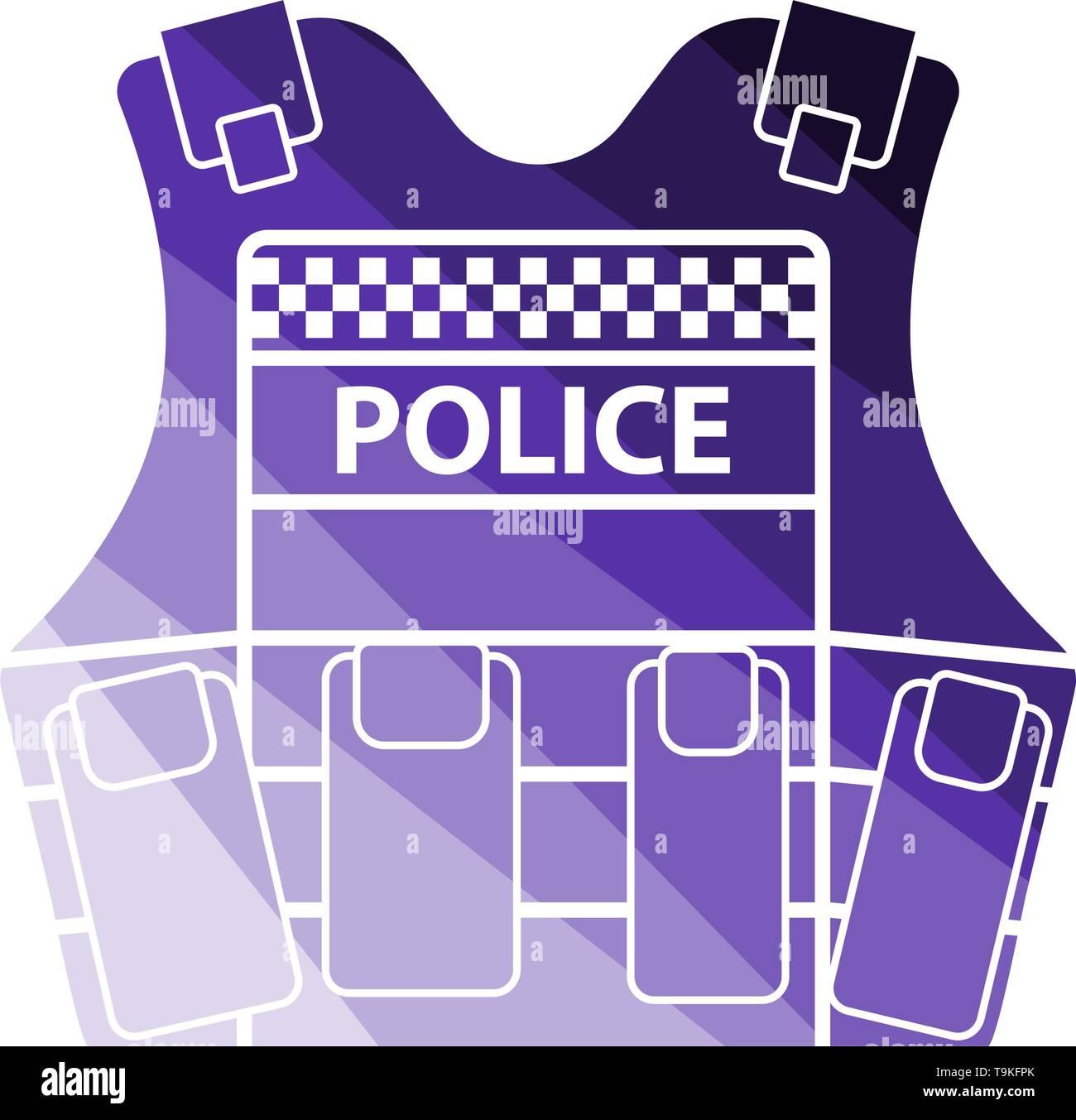Police Vest Icon. Flat Color Ladder Design. Vector Illustration. - Stock Image