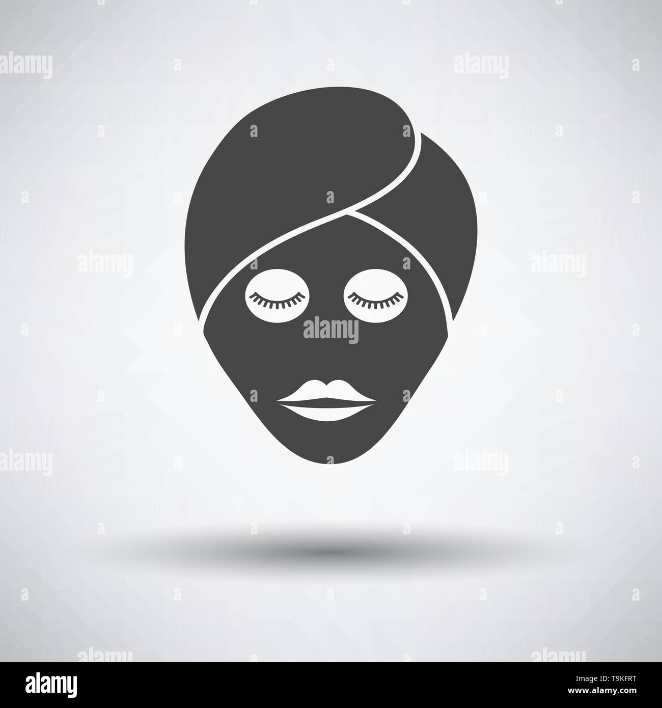 Woman head with moisturizing mask icon on gray background with round shadow. Vector illustration. - Stock Image