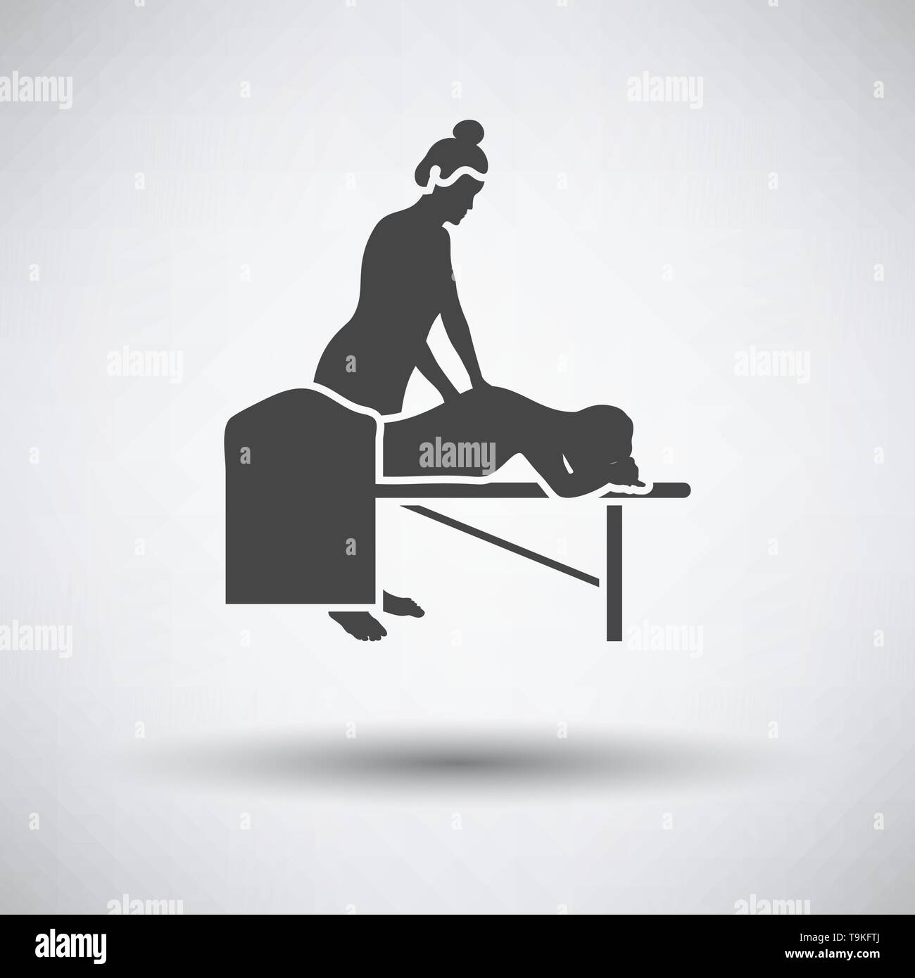 Woman massage icon on gray background with round shadow. Vector illustration. - Stock Image