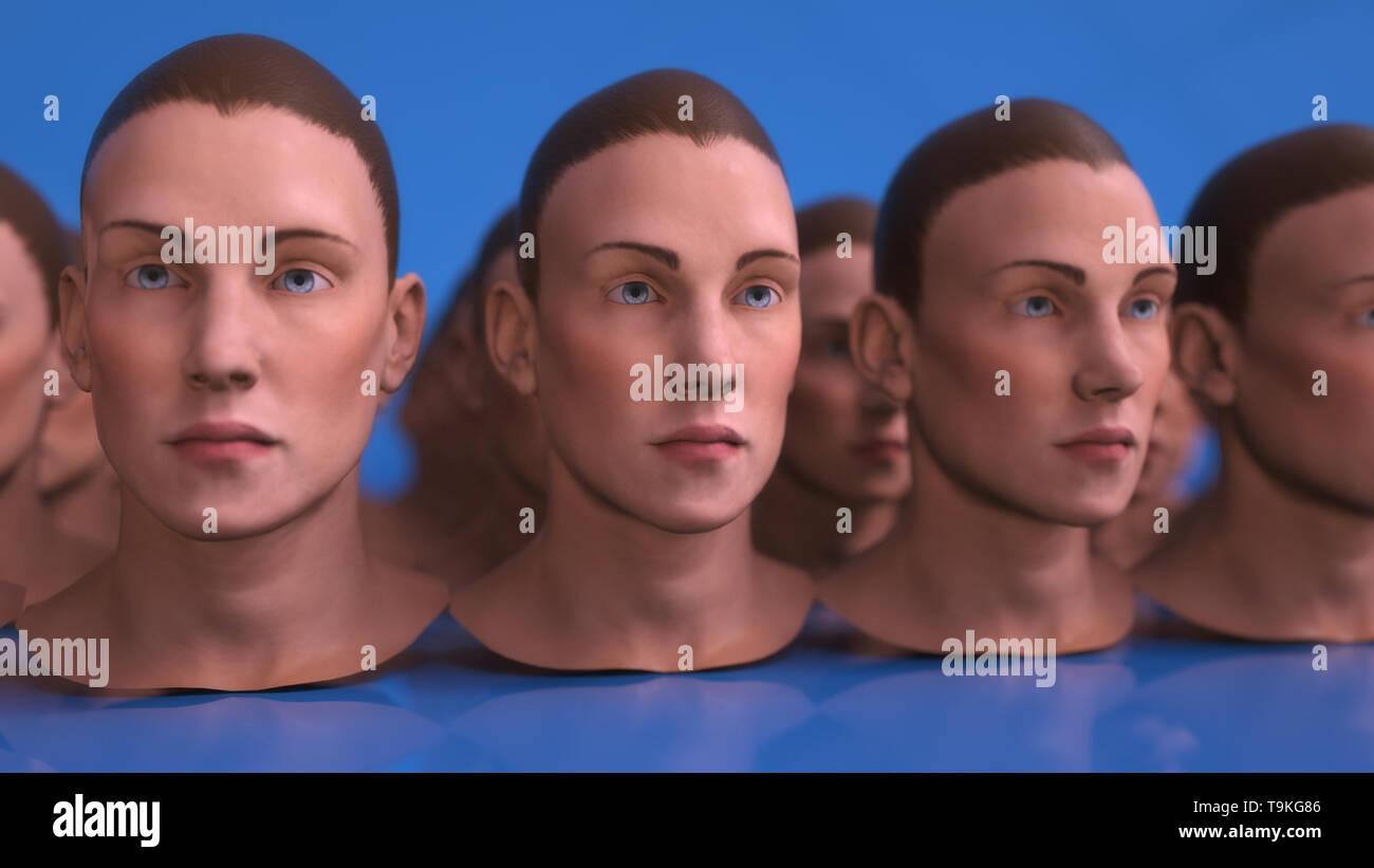 3D render. Cloning humanoid figures - Stock Image