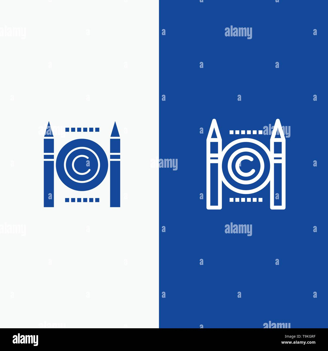 Business, Conflict, Copyright, Digital Line and Glyph Solid icon Blue banner Line and Glyph Solid icon Blue banner - Stock Image