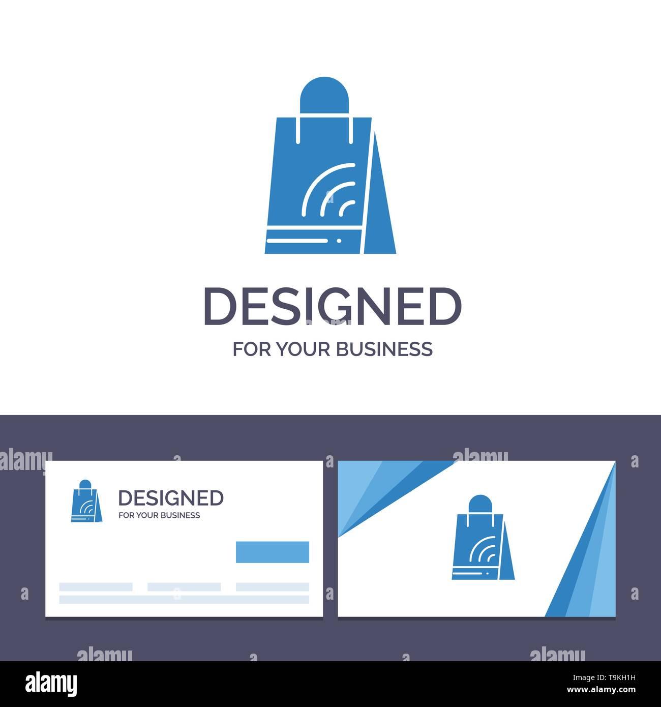 Creative Business Card and Logo template Bag, Handbag, Wifi, Shopping Vector Illustration - Stock Image