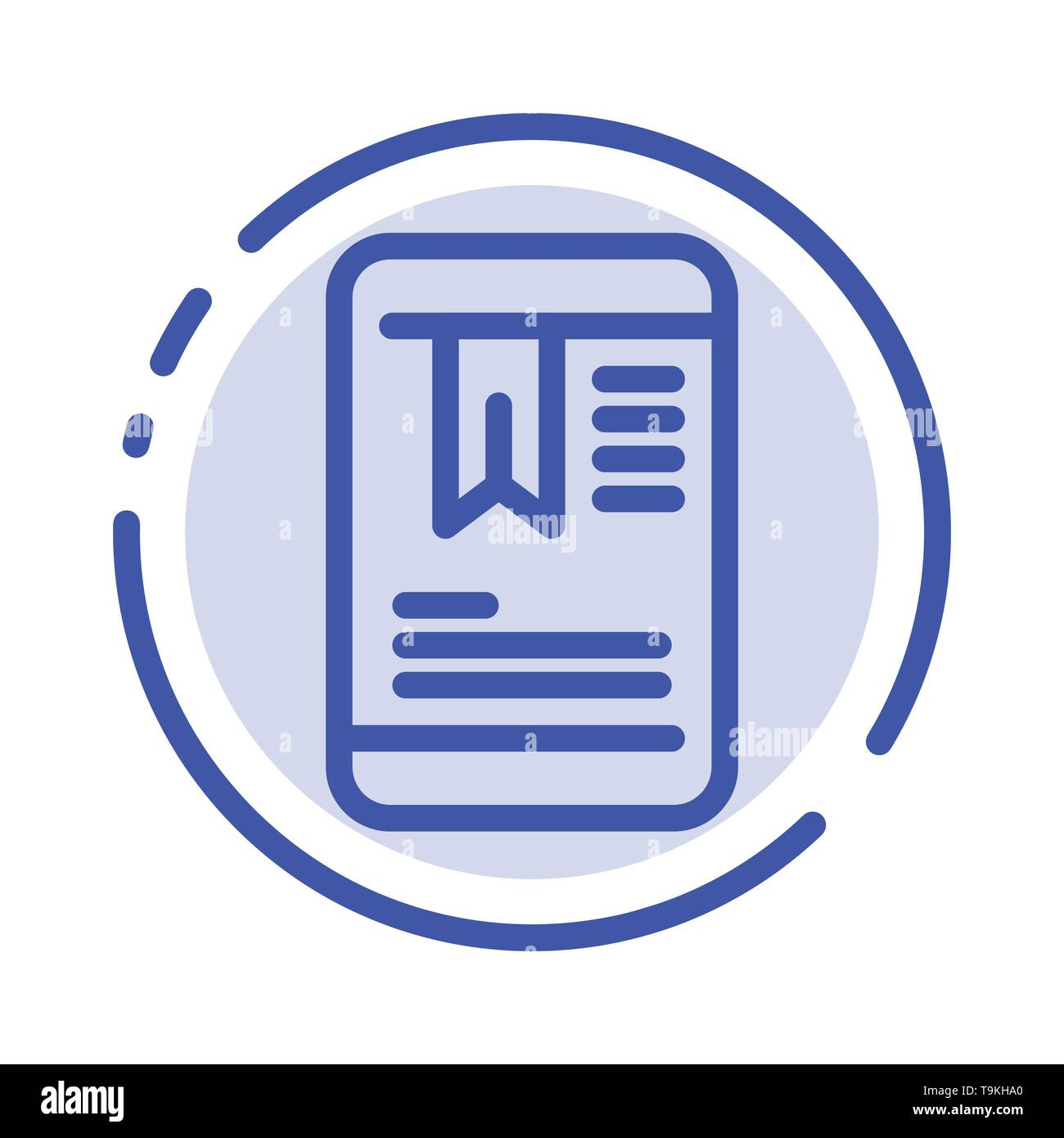 Mobile, Tag, OnEducation Blue Dotted Line Line Icon - Stock Image