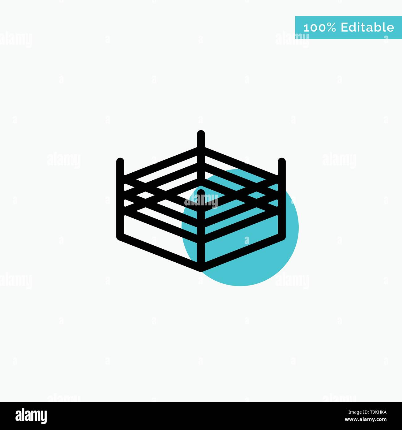 Boxing, Ring, Wrestling turquoise highlight circle point Vector icon - Stock Image