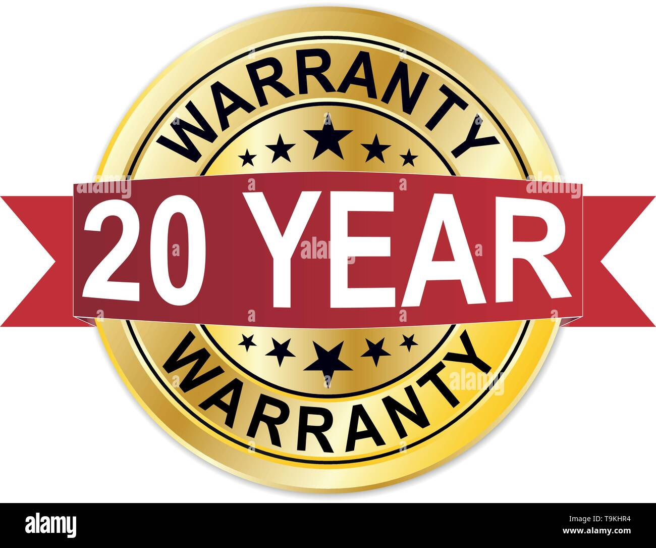 warranty 20 years of experience golden label - Stock Vector