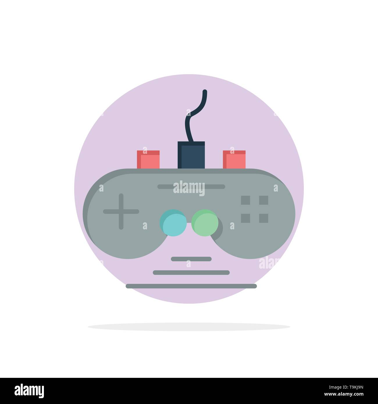 Controller, Game, Game Controller, Gamepad Abstract Circle Background Flat color Icon - Stock Image