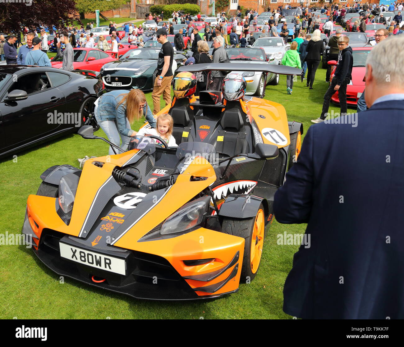 Children enjoyed the opportunity to sit in a rare KTM X-Bow racing car  at Stonor Park for Supercar Sunday, Henley-on-Thames, UK - Stock Image