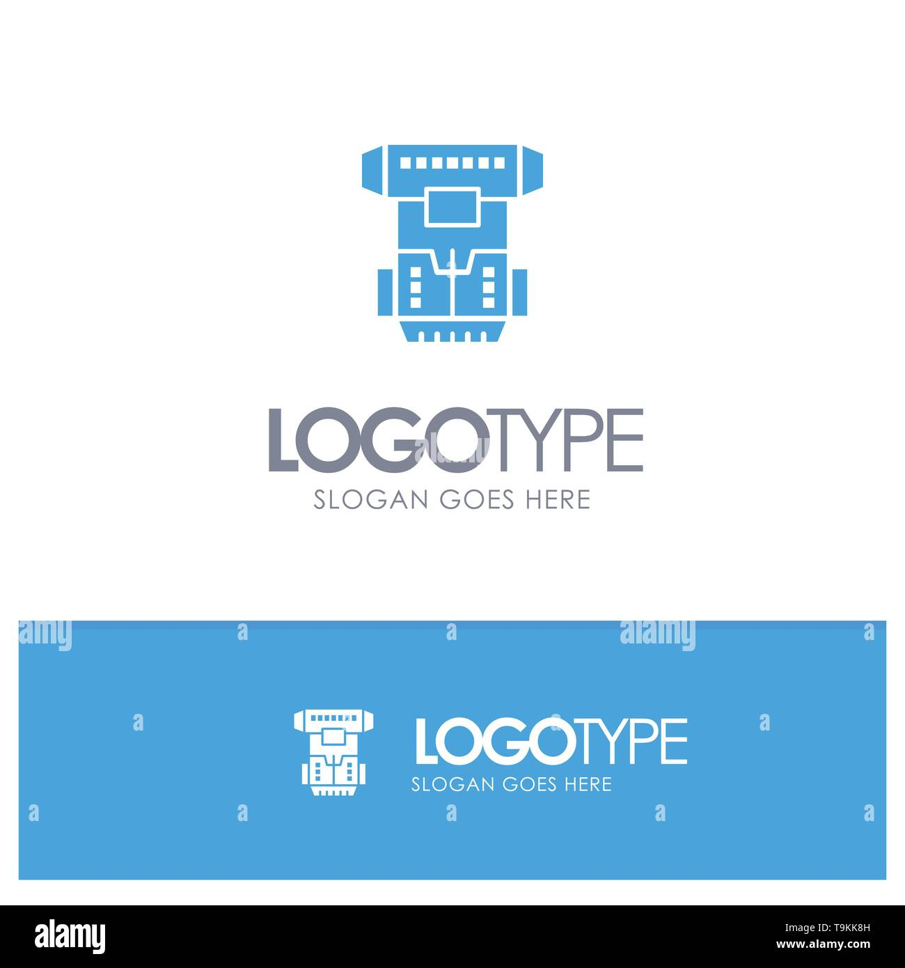 Box, Chamber, Cryogenic, Cryonics, Cryotherapy Blue Solid Logo with place for tagline - Stock Image