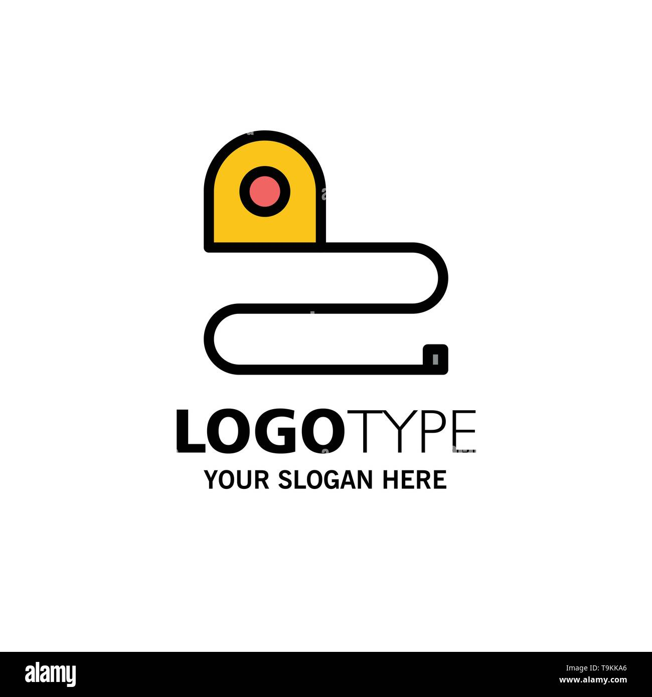 Construction, Measuring, Scale, Tape Business Logo Template. Flat Color - Stock Image