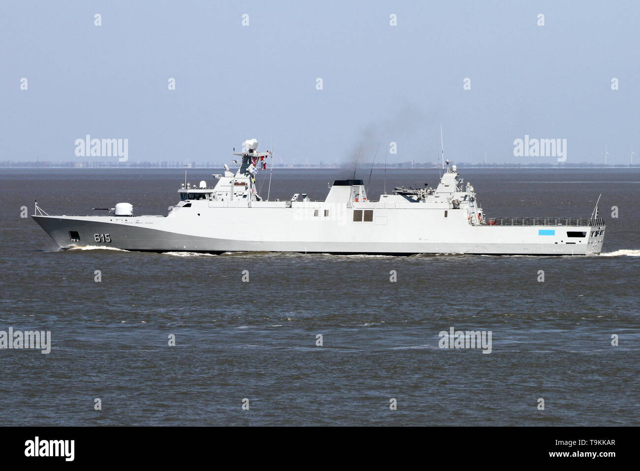 The military ship Allal Beb Abdellah passes on 15 April 2019 Cuxhaven and continues towards the North Sea. - Stock Image