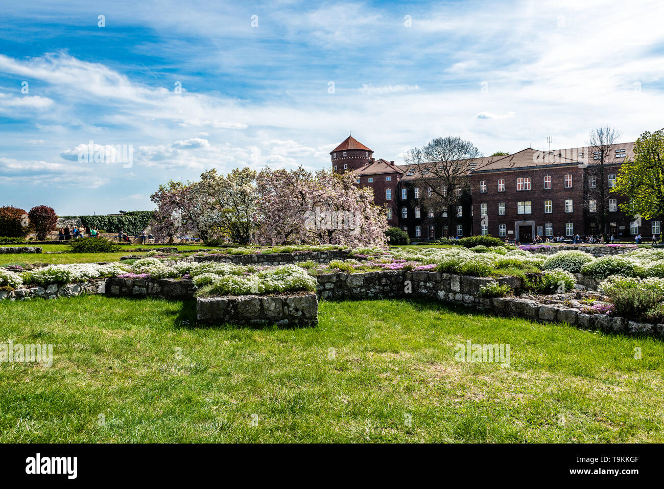 KRAKOW, POLAND - APRIL 19, 2019: Wawel Royal Castle and and courtyard in Krakow, Poland. - Stock Image