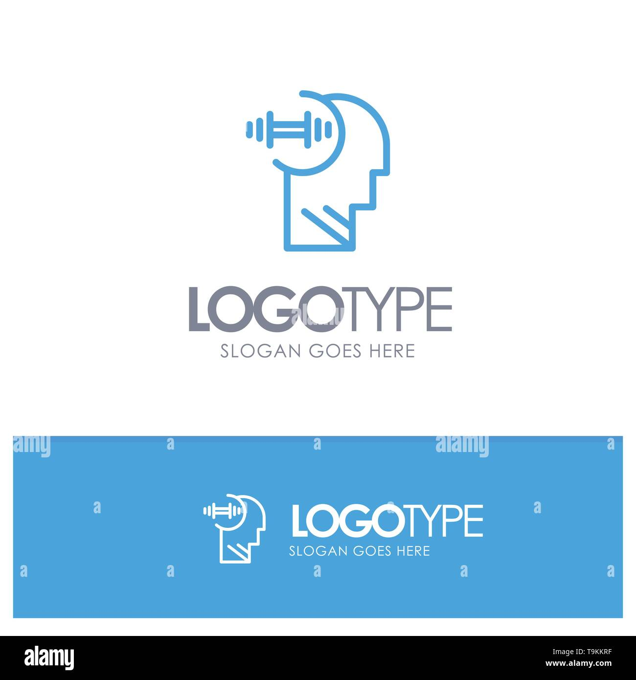 Training, Brian, Dumbbell, Head Blue Logo Line Style - Stock Image