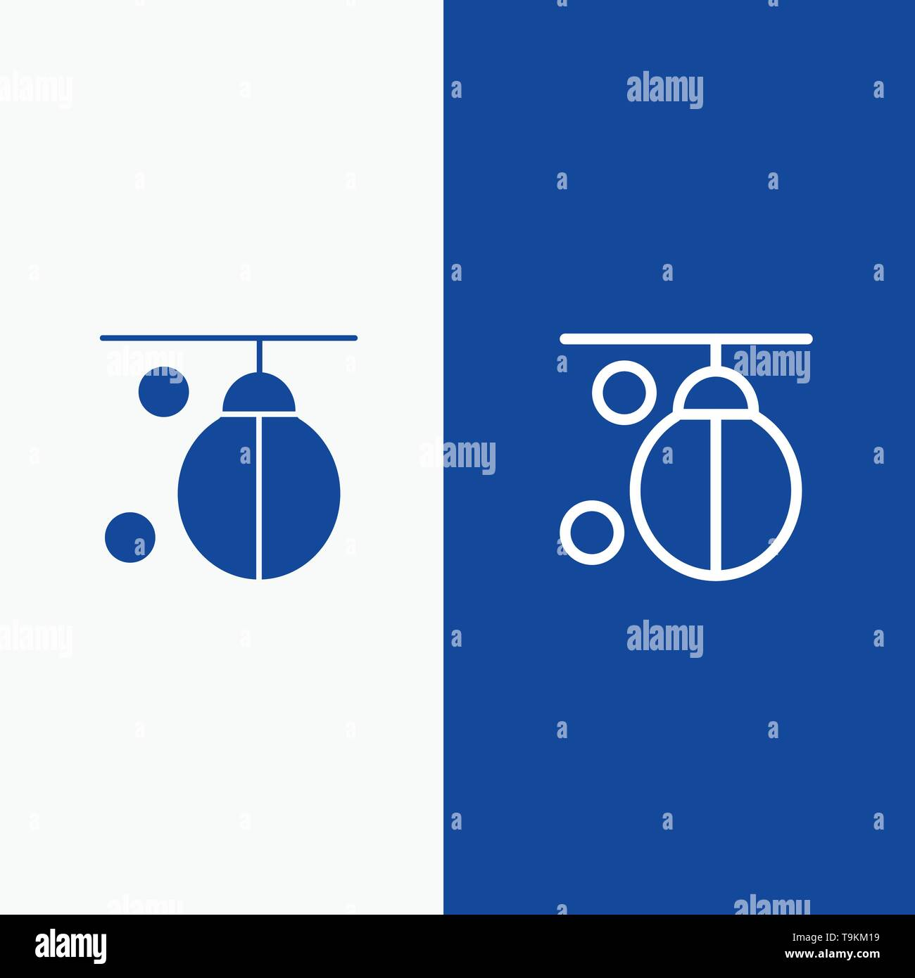 Bag, Boxer, Boxing, Punching, Training Line and Glyph Solid icon Blue banner Line and Glyph Solid icon Blue banner - Stock Image
