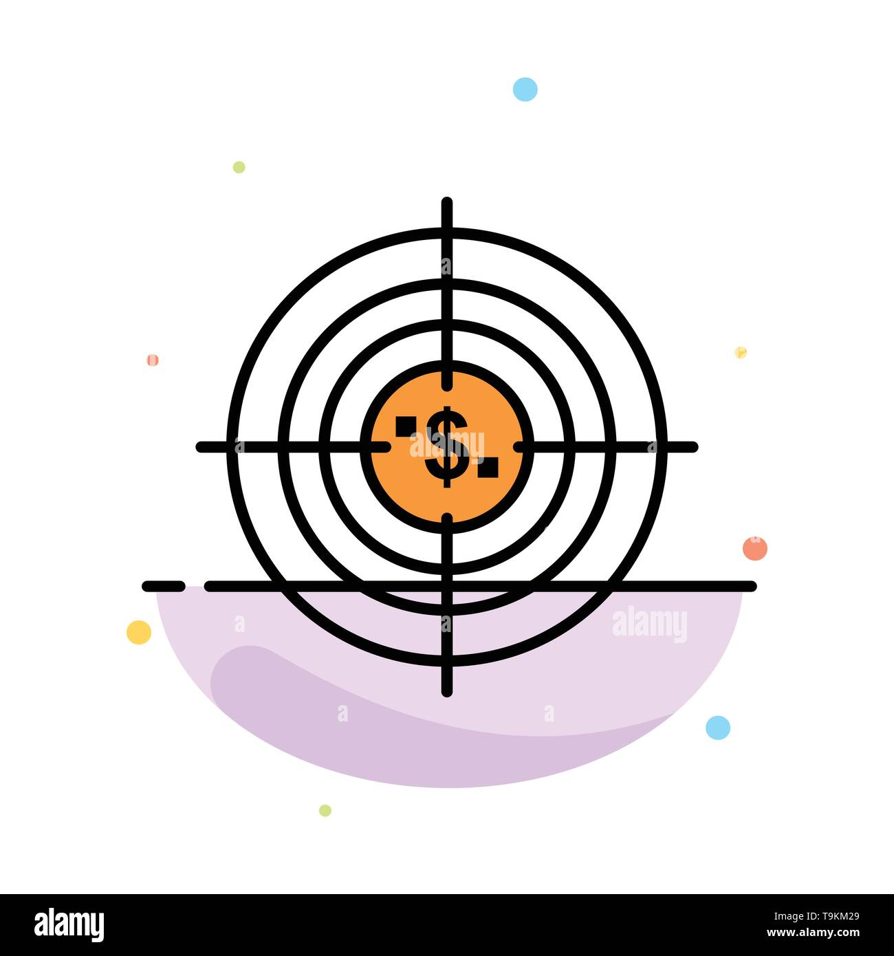 Target, Aim, Business, Cash, Financial, Funds, Hunting, Money Abstract Flat Color Icon Template - Stock Image