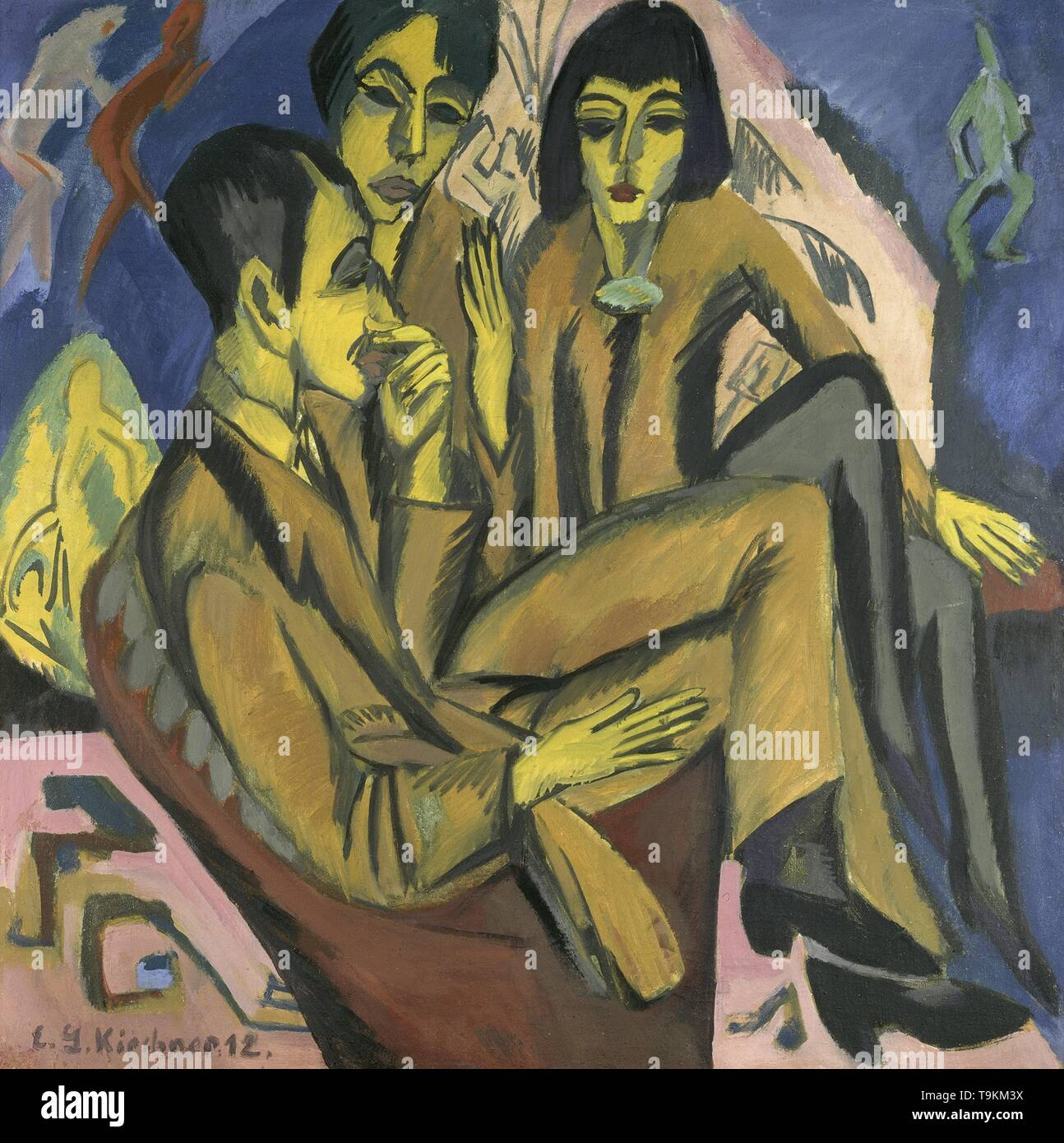 Artist group (Conversation of the artists). Museum: Osthaus Museum Hagen. Author: ERNST LUDWIG KIRCHNER. - Stock Image
