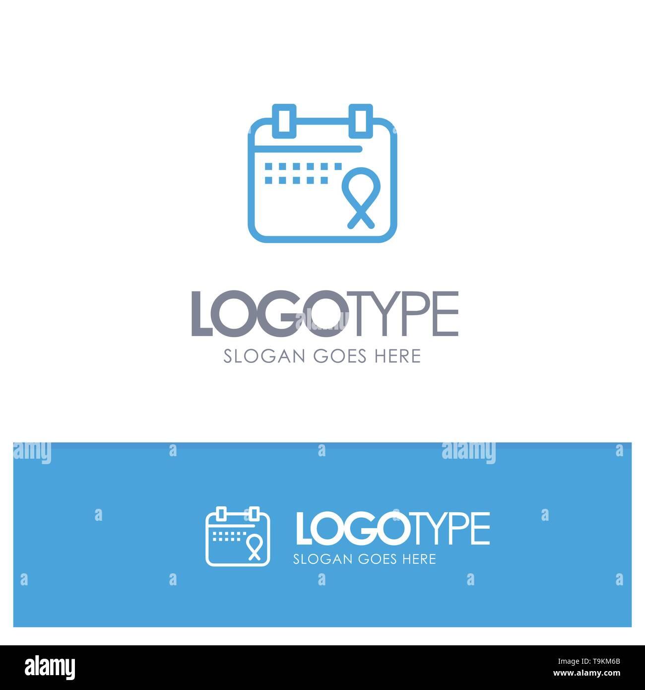Calendar, Love, Operation, Date Blue Logo Line Style - Stock Image
