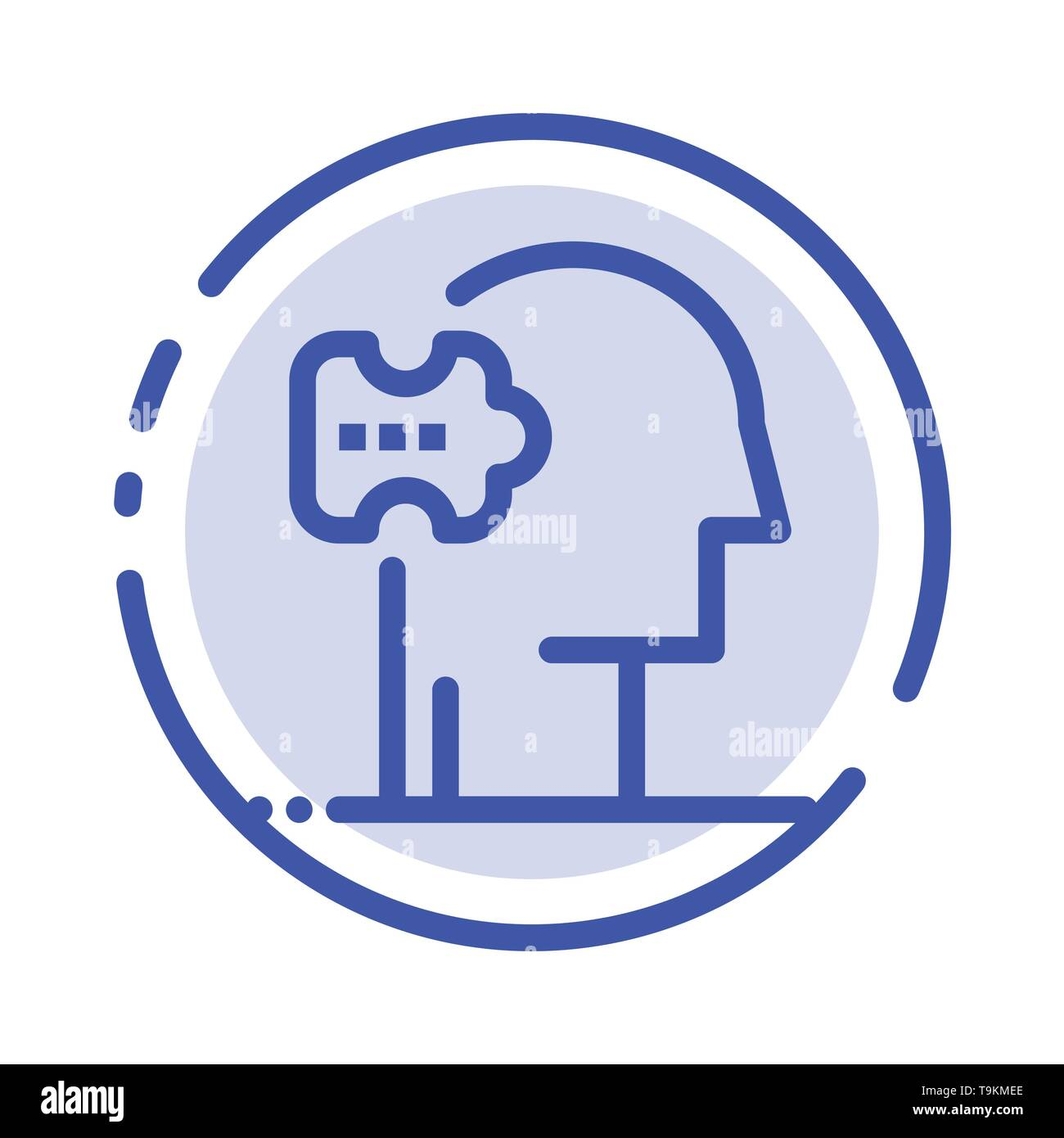 Psychiatry, Psychology, Solution, Solutions Blue Dotted Line Line Icon - Stock Image