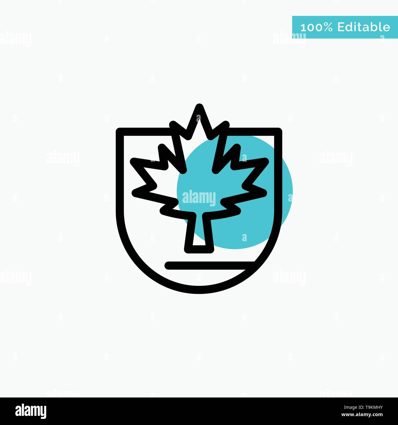 Security, Leaf, Canada, Shield turquoise highlight circle point Vector icon - Stock Image
