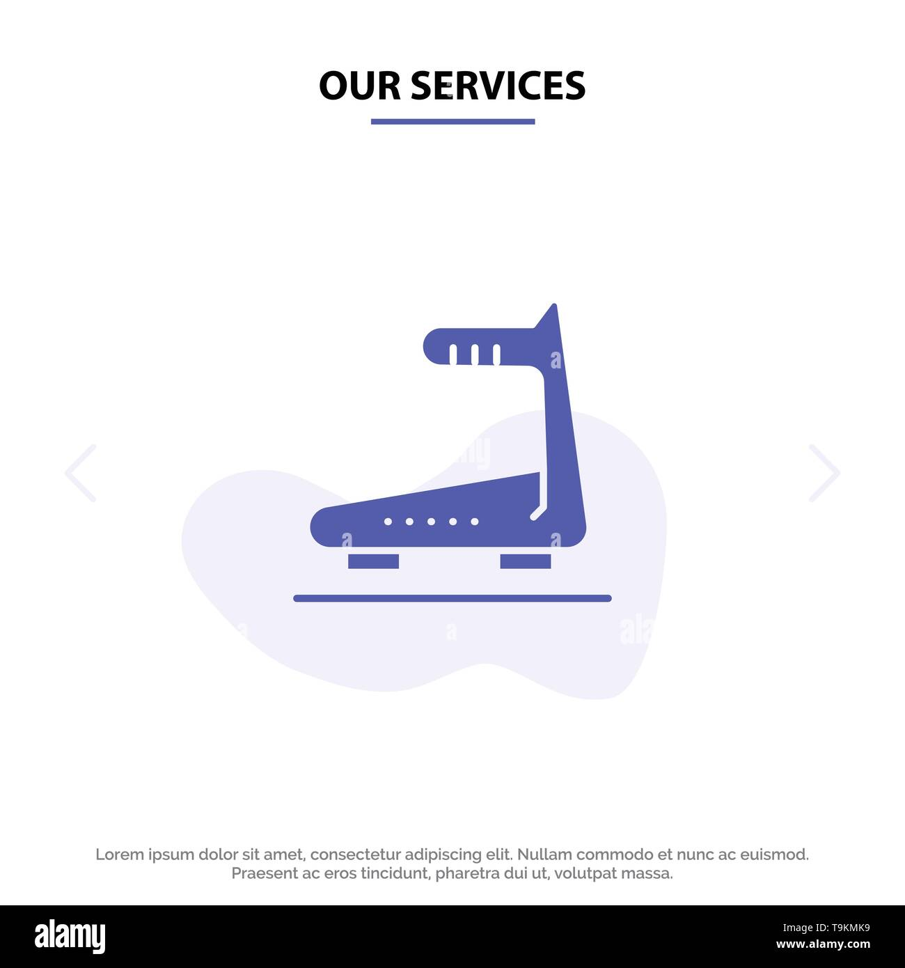 Our Services Machine, Running, Track, Treadmill Solid Glyph Icon Web card Template - Stock Image