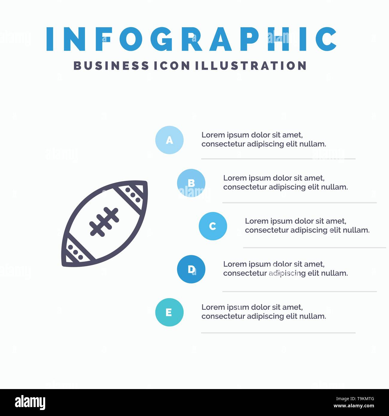 American, Ball, Football, Nfl, Rugby Line icon with 5 steps presentation infographics Background - Stock Image