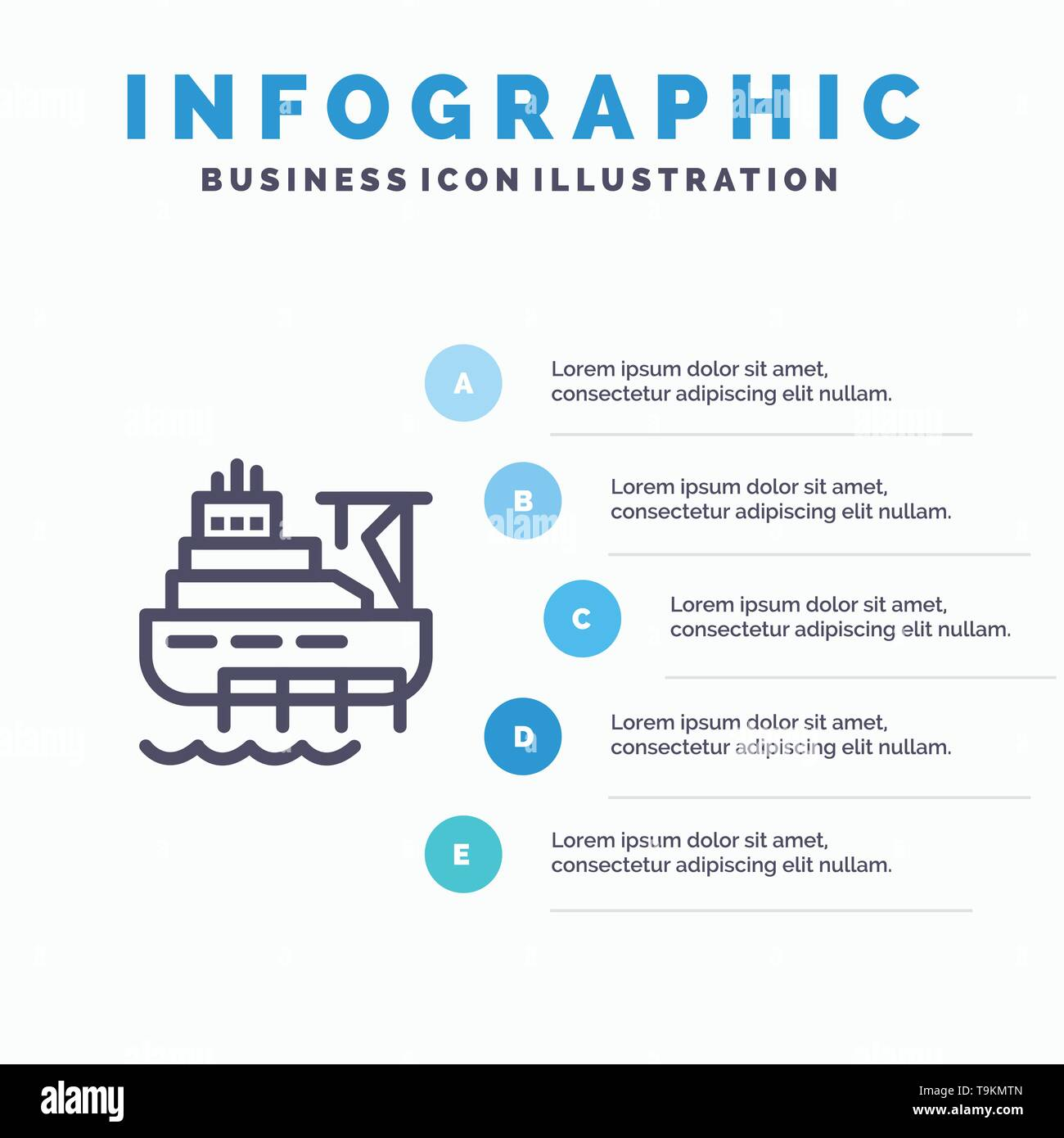 Ship, Boat, Cargo, Construction Line icon with 5 steps presentation infographics Background - Stock Image