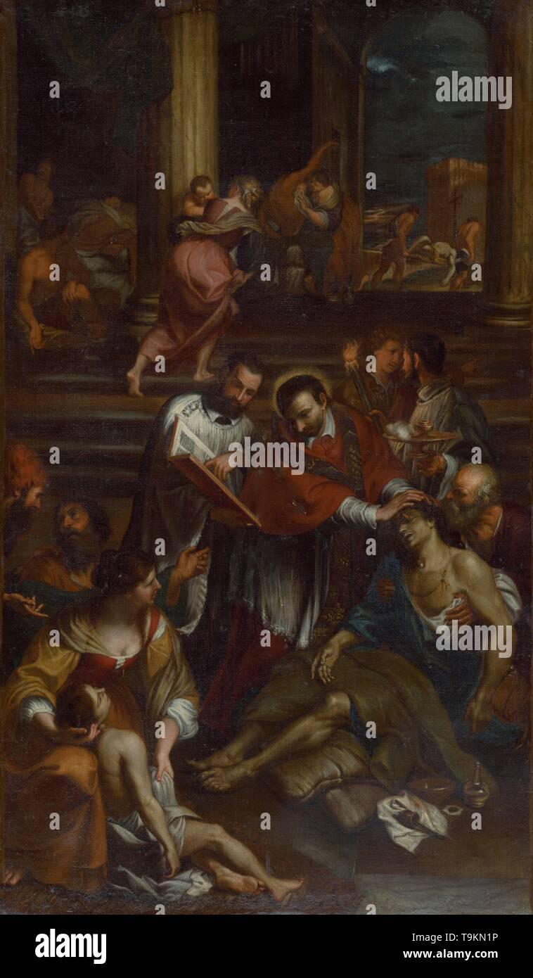 Saint Charles Borromeo among Plague Victims. Museum: Slovak National Gallery, Bratislava. Author: Giovanni Bonatti. - Stock Image