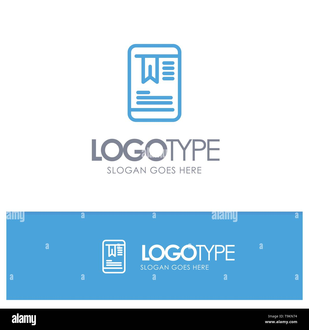 Mobile, Tag, OnEducation Blue outLine Logo with place for tagline - Stock Image