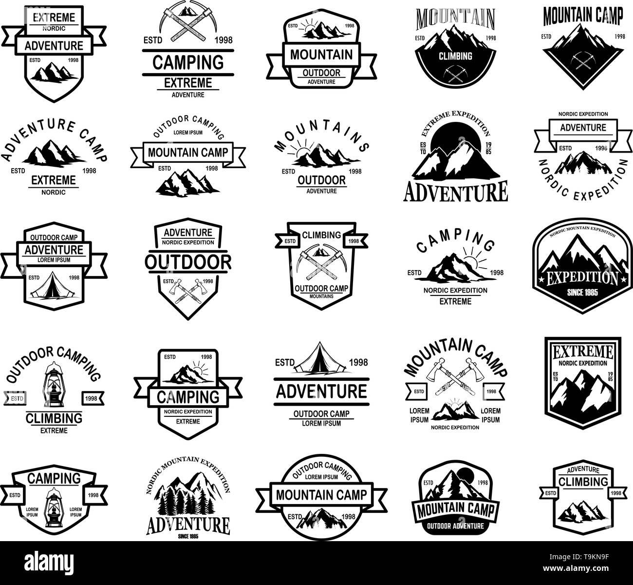 Big set of mountain camp, outdoor adventure emblems. Design element for logo, emblem, sign, label. Vector illustration - Stock Image