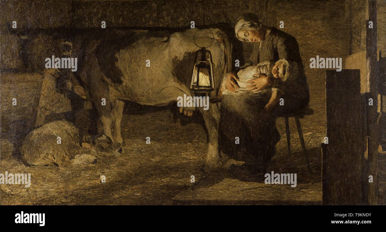 Le due madri (The two mothers). Museum: Galleria d'arte moderna, Milano. Author: GIOVANNI SEGANTINI. - Stock Image