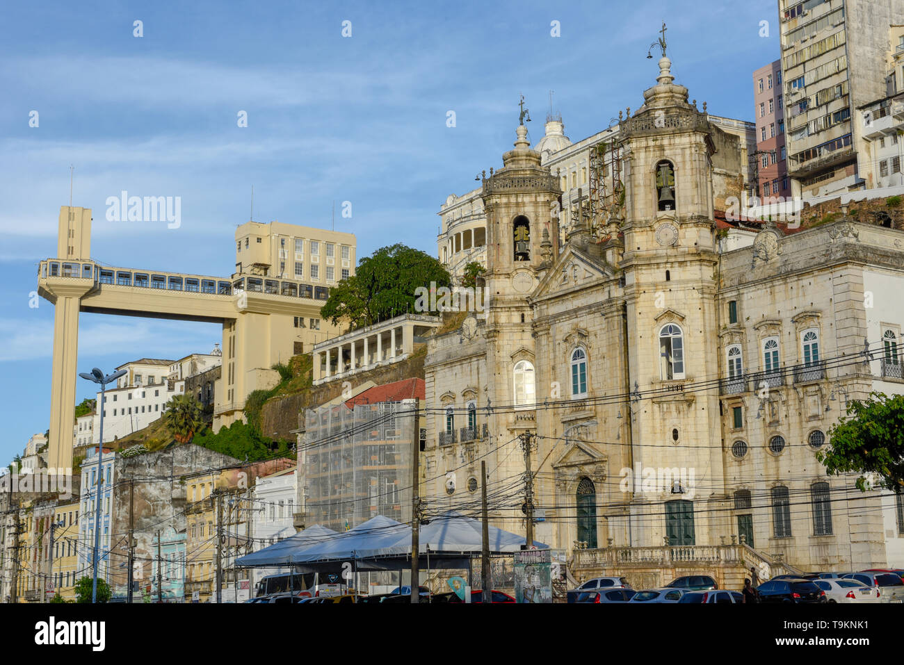 Salvador, Brazil - 3 february 2019: View of Lacerda Elevator from lower city in Salvador Bahia on Brazil - Stock Image