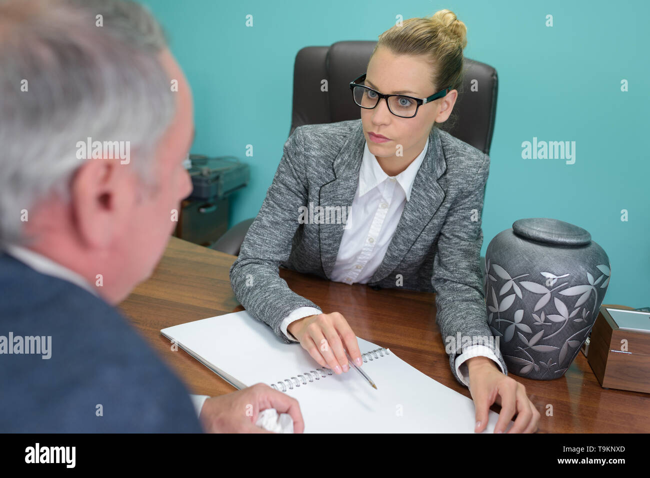 business people talking seriously Stock Photo