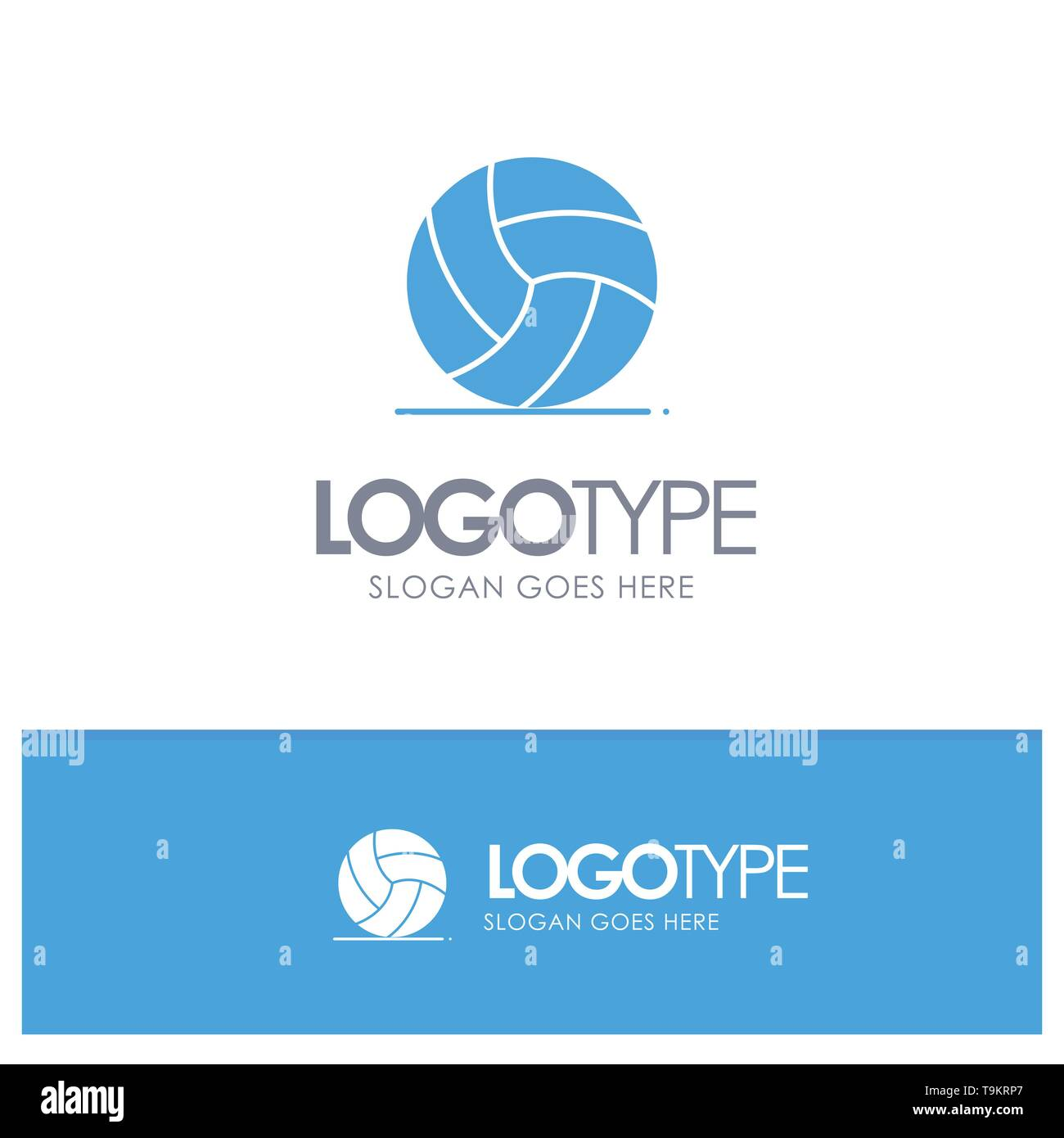 Football, Ireland, Game, Sport Blue Solid Logo with place for tagline - Stock Image