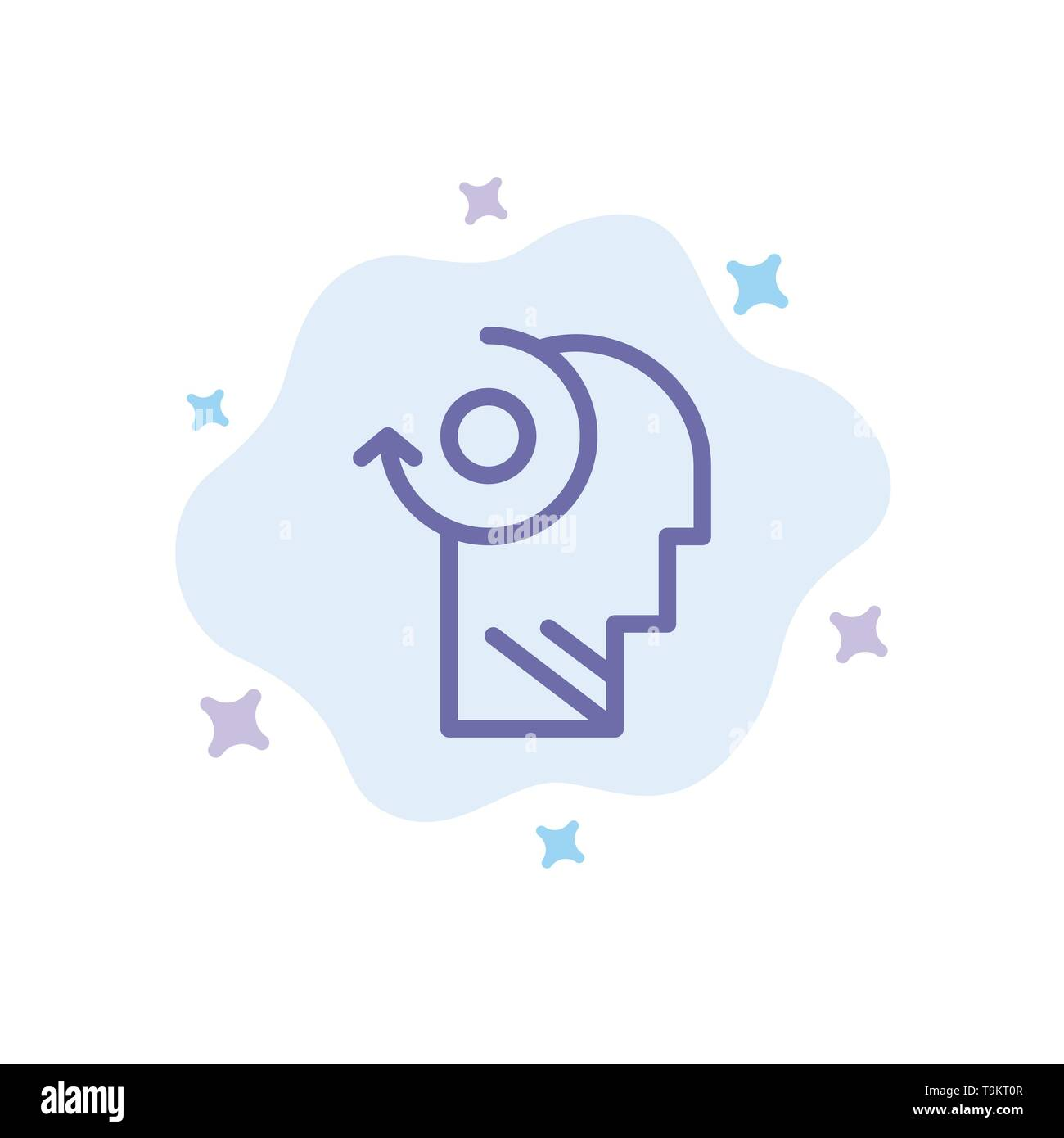 Clear, Mind, Your, Head Blue Icon on Abstract Cloud Background - Stock Image