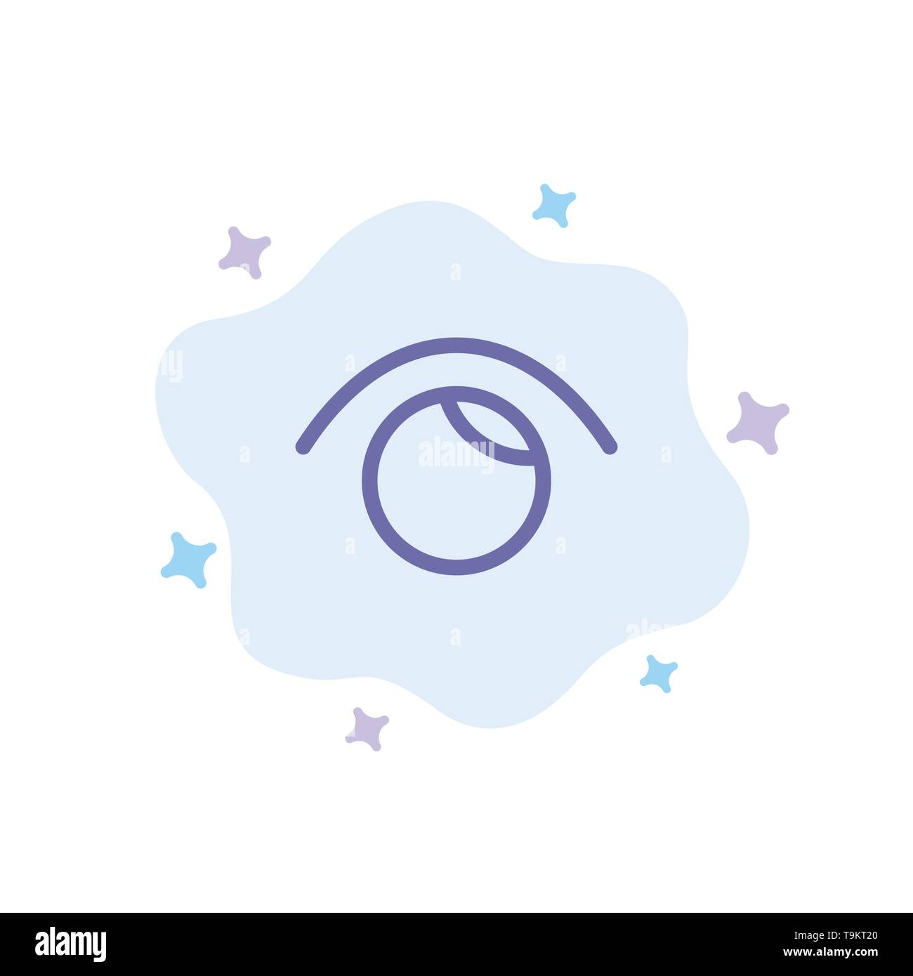 Eye, View, Watch, Twitter Blue Icon on Abstract Cloud Background - Stock Image