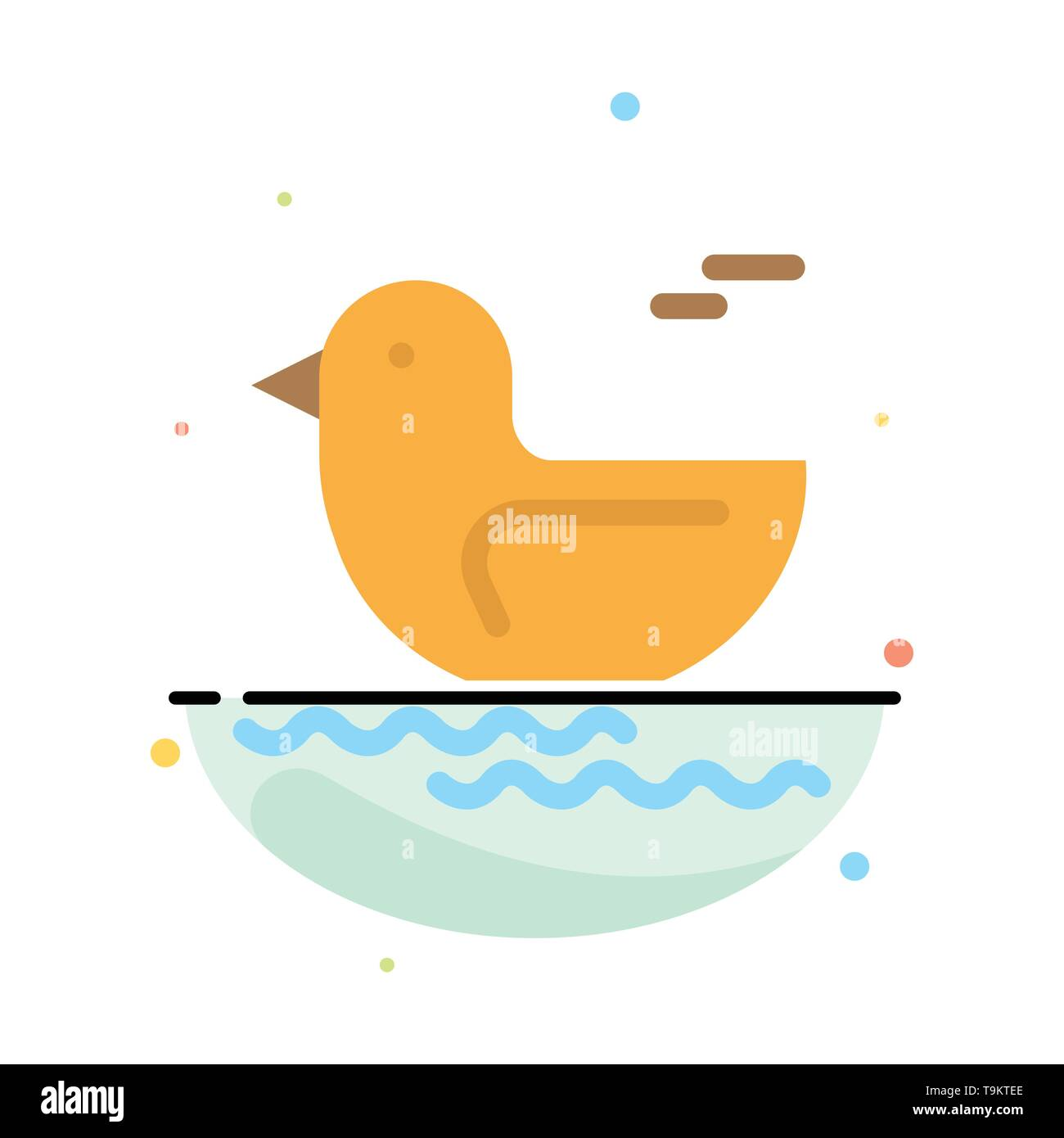 Duck, River, Canada Abstract Flat Color Icon Template - Stock Image