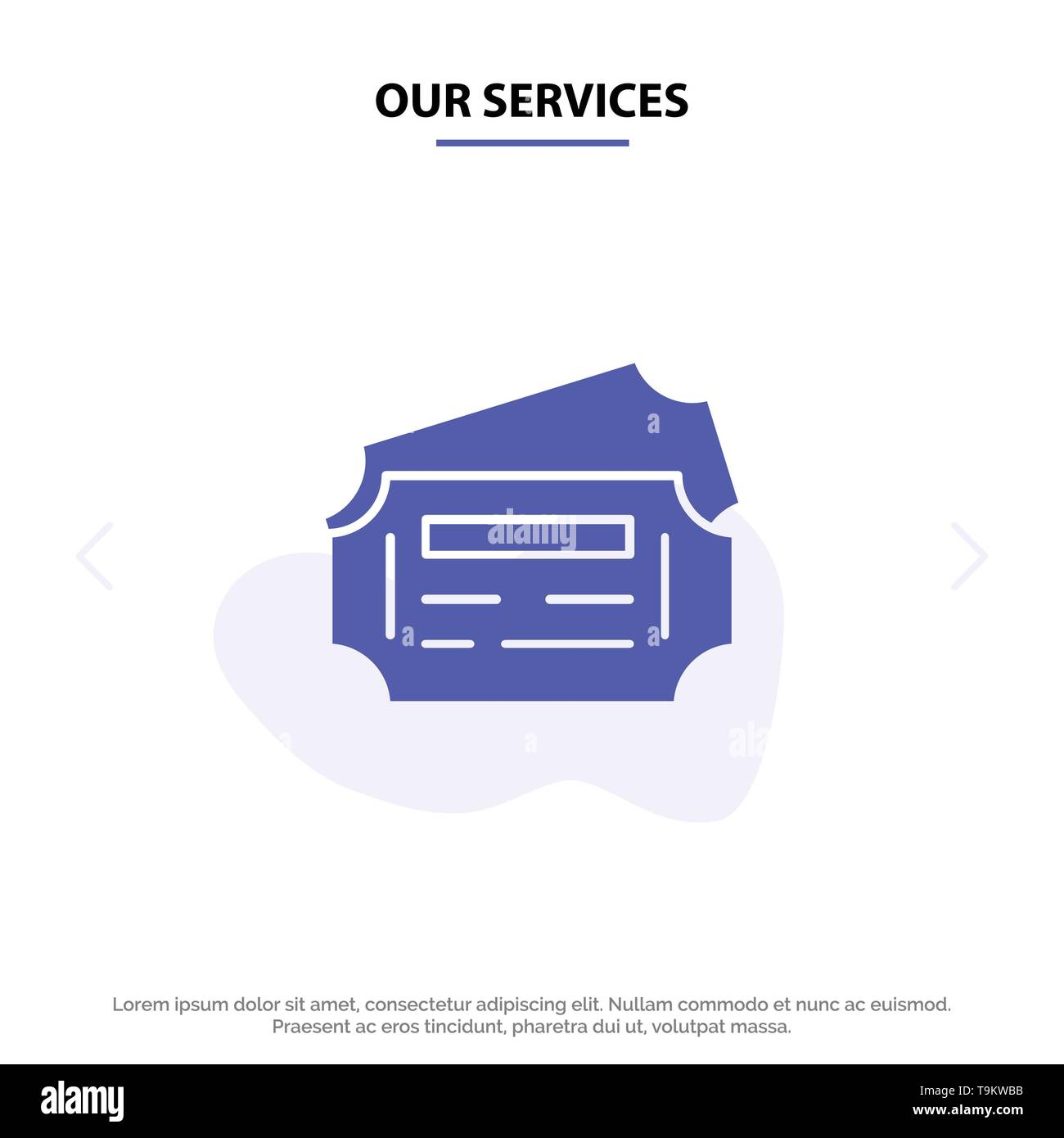 Our Services Train, Ticket, Station Solid Glyph Icon Web card Template - Stock Image