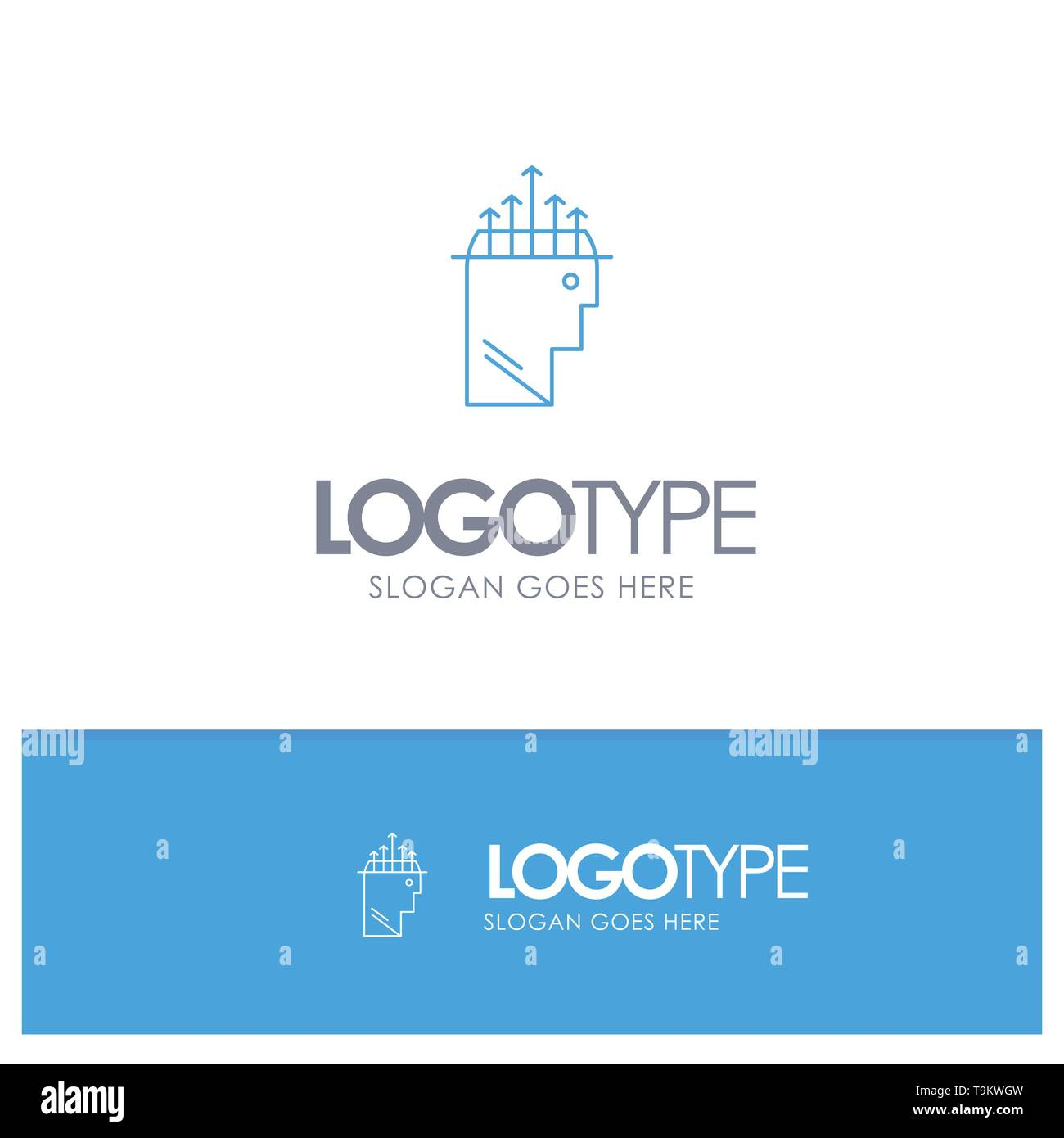 Hand, Hypnosis, Data, Psychology Blue outLine Logo with place for tagline - Stock Image