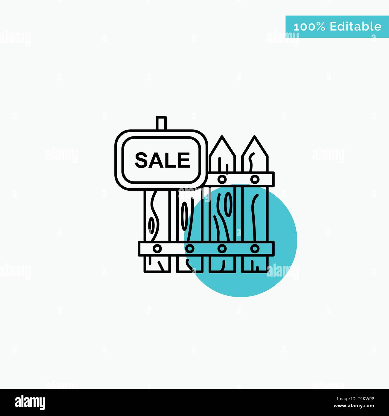 Fence, Wood, Realty, Sale, Garden, House turquoise highlight circle point Vector icon - Stock Image