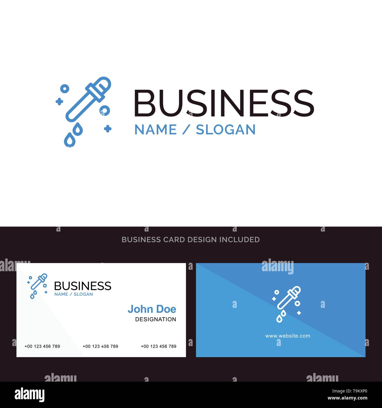 Dropper, Pipette, Science Blue Business logo and Business Card Template. Front and Back Design - Stock Image